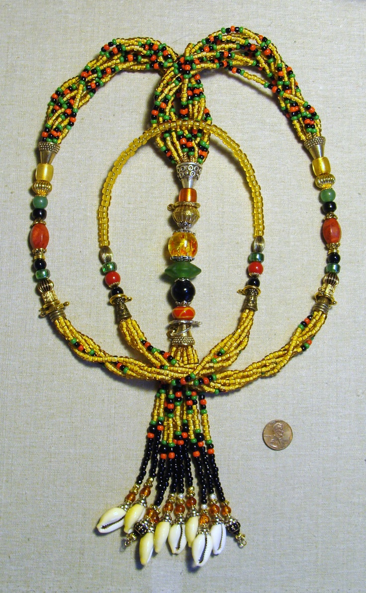 """Oshun Ibu Kole Large Eleke or Mazo"" For more information, go to the following link: http://beadzonejewelry.com/"