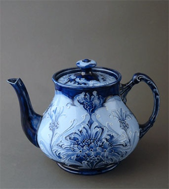 William Moorcroft Florian Cornflower Tea Pot 1900