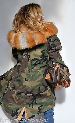 новый 2015 военный камуфляж парка пальто SAGA FOX меха, Клас ларссон Sable ШИНШИЛЛА норка куртка
