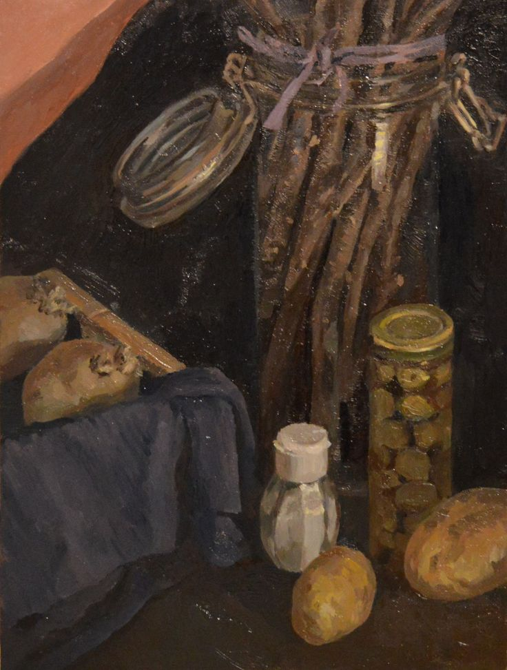 Oil painting still life with olives, salt and potatoes Art by Victoria Duryagina.#olive #painter #painting #stilllife #foodart