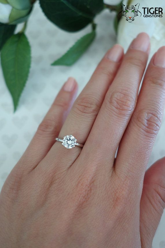 1 ct 14k White Gold, 6 Prong Solitaire Ring, Engagement Ring, 6.5mm Man Made Diamond Simulant, Wedding Ring, Anniversary Ring