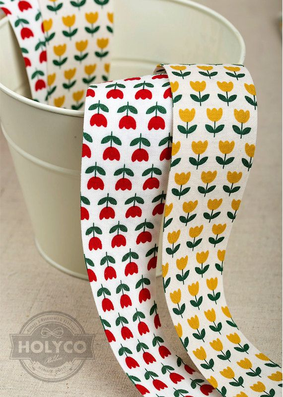 Anna Tulip Fabric Ribbon 2 Colors. 40mm1.5. 100% Cotton by HOLYCO