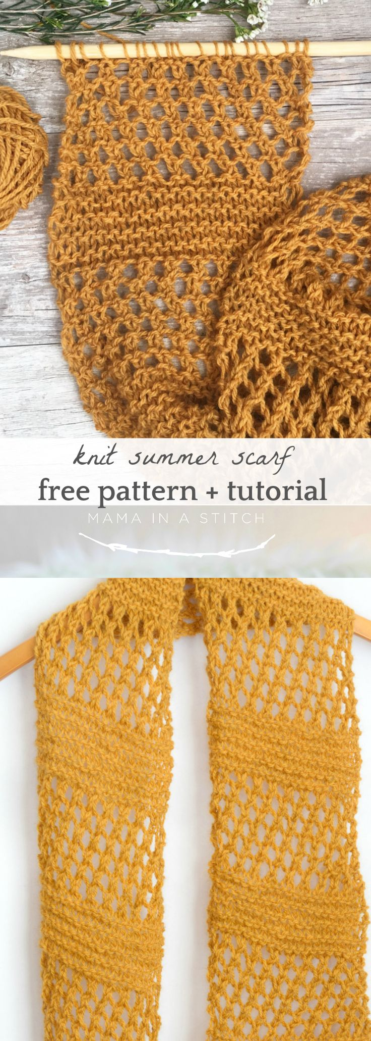 Honeycombs Summer Easy Scarf Knitting Pattern via @MamaInAStitch #freeknittingpattern #diy #gifts #mothersday #spring #style #knittingpattern