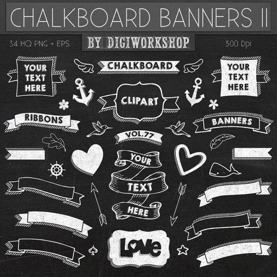 """Chalkboard Clip Art  """"CHALKBOARD BANNERS II"""" pack with chalkboard banners, chalkboard ribbons.(+ black & green chalkboard background)"""
