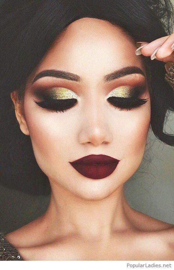 gold-eye-makeup-and-burgundy-matte-lips #weddinglipcolors