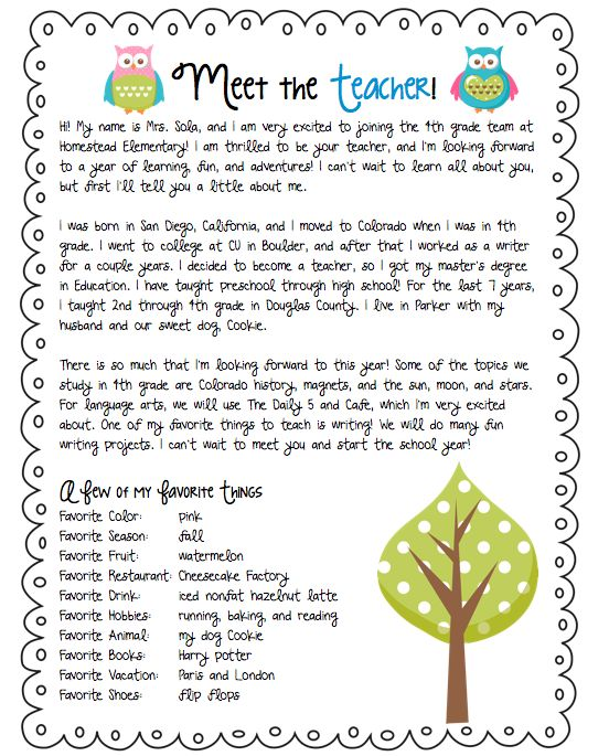 letters to parents from teachers templates