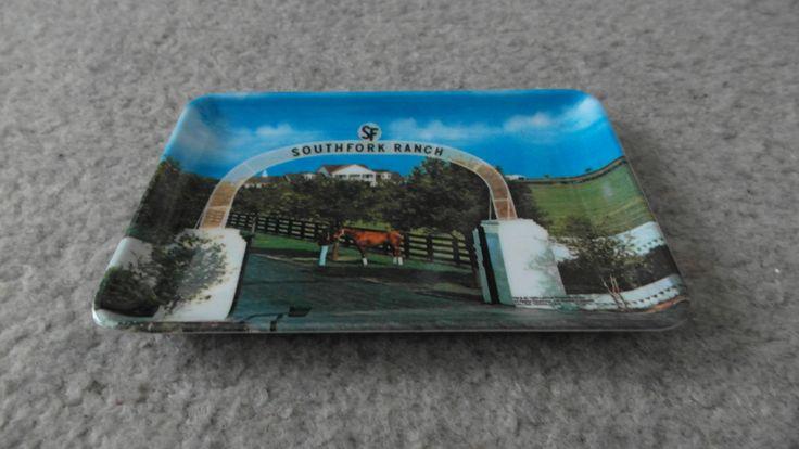"Melamine Tip Souvenir Pin Coin Tray Southfork Ranch Dallas TV Show. Tray is in mint condition. Measures 6 1/4"" x 4 1/4""."