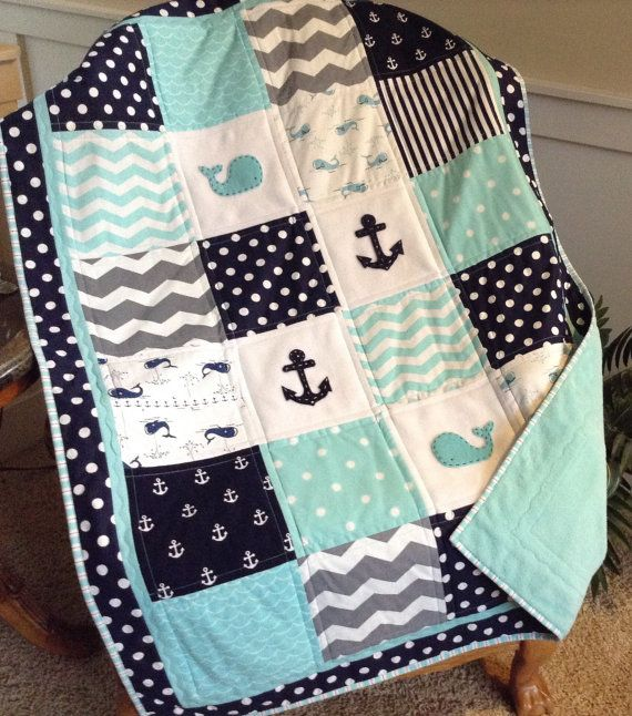 Baby Whale Crib Size quilt in aqual navy gray by Lovesewnseams