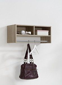 Pinito Wall Mounted Coat Hooks Rack Stand With Coat Rail & Storage Shelf in Oak Colour - by DMF: Amazon.co.uk: Kitchen & Home