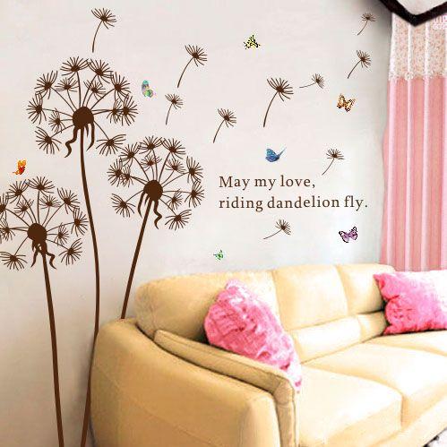 """Наклейки-украшения для стен """"Одуванчики"""". Добавьте в Вашу гостиную немного лета!"""
