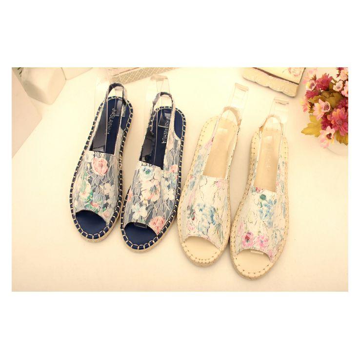 Корейский моды кружева плоские сандалии с головой рыбы раздавил тростника, льна цветы приливные плоские сандалии 2014 новые туфли - Taobao
