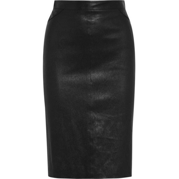 GIVENCHY Pencil skirt in black leather ($1,212) ❤ liked on Polyvore featuring skirts, real leather skirt, zipper skirt, zipper pencil skirt, leather zip skirt and leather pencil skirt