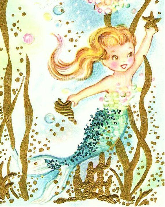 Vintage Mermaid Holding Starfish Cute Digital by SaltwaterTaffs