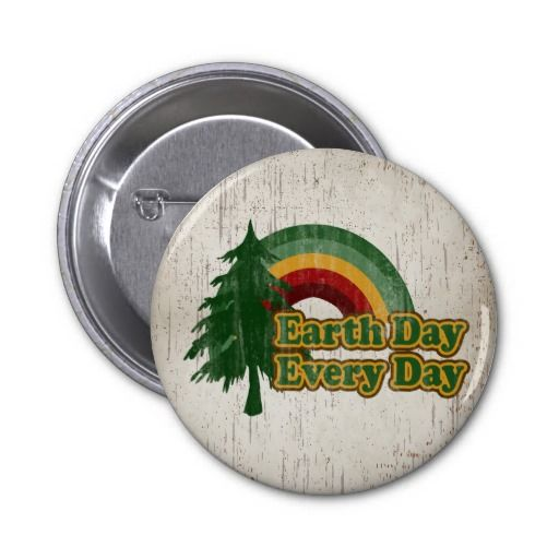 Earth Day Every Day, Retro Rainbow Pin