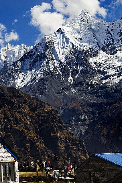 "Annapurna - a section of the Himalayas in north-central Nepal. Annapurna is a Sanskrit name that literally means ""full of food"", but is normally translated as ""goddess of the harvests"". The Annapurna peaks are among the world's most dangerous mountains to climb. Highest peak is 26,545 ft high. @sdighans"