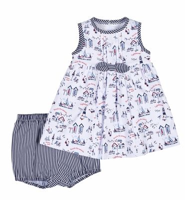 Florence Eiseman Baby / Toddler Girls Navy Blue Beach Print Dress - Infant Sizes Include Bloomers - Limited Edition!