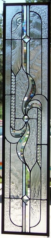 Beveled Stained Glass sidelight.  with wavy design and oval border, very nice.