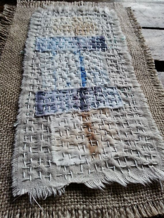 Japanese Boro Sashiko Slow Stitch mending patch by thejadedorris