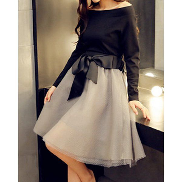 Stylish Slash Neck Solid Color Long Sleeve Blouse + Lace-Up Midi Skirt Twinset For Women
