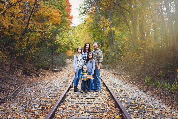 Fall Family Pictures - Fall Family Photos - Fall Family Portraits - Breezy Hill Portraits - Railroad Tracks - Sunlight Edit