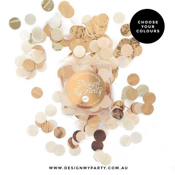 Champagne Glam Confetti  Champagne Rose Gold by DesignMyPartyShop