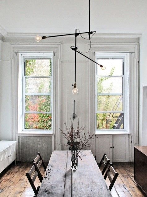 simple: Dining Rooms, Lights Fixtures, Window, Wood, Industrial Chandeliers, Rustic Tables, White Wall, Dining Tables, Urban Rustic