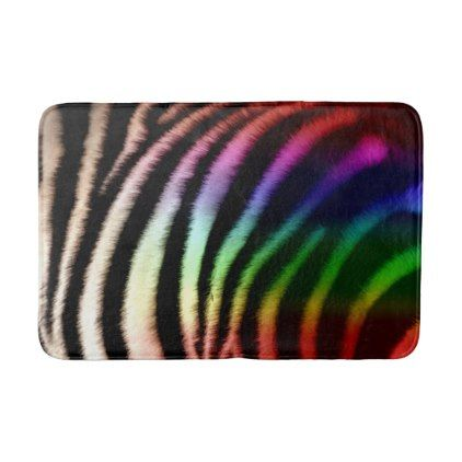 #Black & White and Rainbow Zebra Print Bathroom Mat - #Bathroom #Accessories #home #living