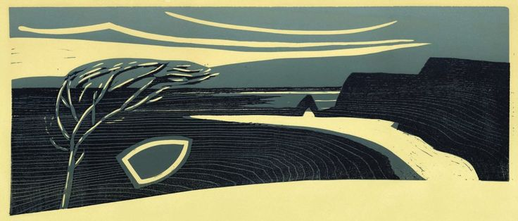 """""""Mouthmill"""" woodblock by Merlyn Chesterman of Hartland, North Devon…"""