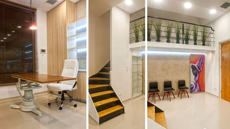 Veterinary clinic's interior snapshots - Custom made office desk with top of wood and base of iron, part of an old veterinary's medical bed - Interior stairway of metallic structure and wooden tops - Waiting area for the clients