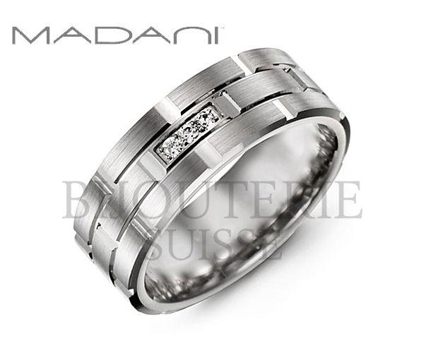 Jonc madani pour homme en or blanc 10k serti de 3 diamants