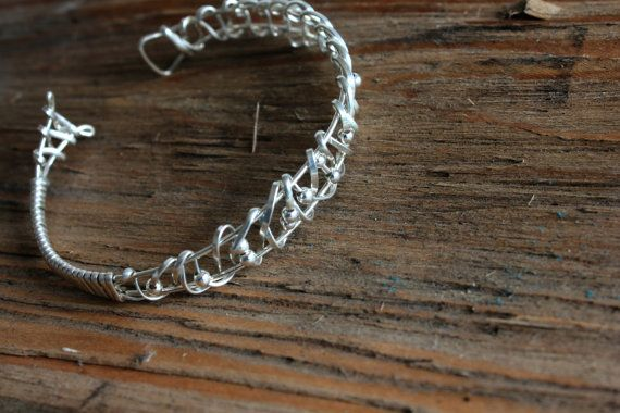 Sterling Silver Bracelet Wire Wrapped Hand Crafted by storyleaf, $58.00