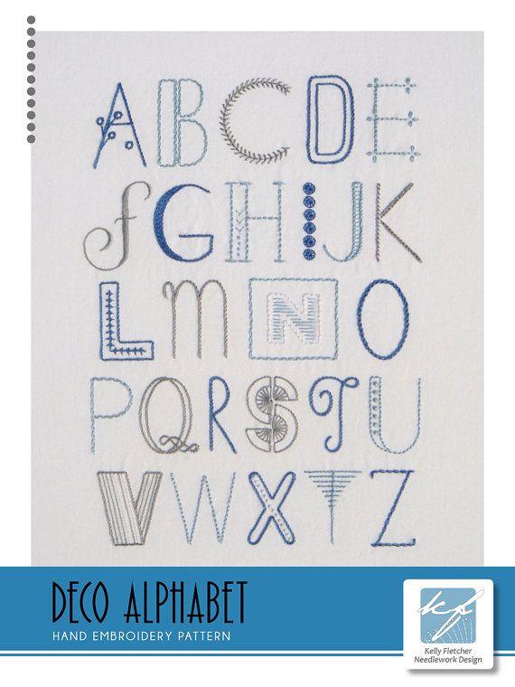 Deco Alphabet modern hand embroidery pattern by KFNeedleworkDesign