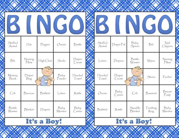 60 Baby Shower Bingo Cards - DIY Printable Party for Baby Boy ...