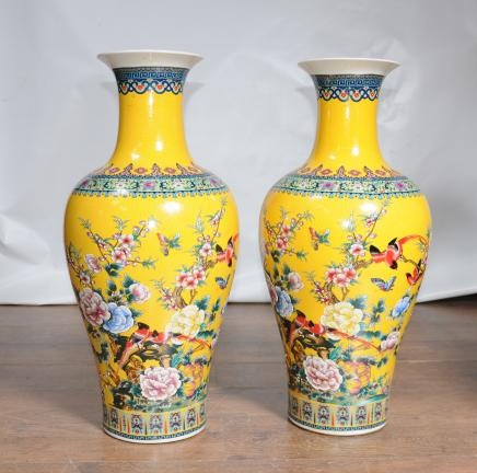 Pair Chinese Ming Yellow Porcelain Vases Urns China Pottery