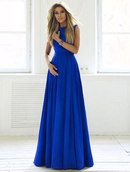 Изысканное длинное платье в пол насыщенного синего цвета, фото 1