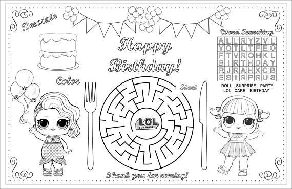 Birthday Kids Activity Placemat, LOL Coloring, Activity