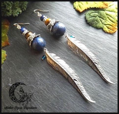 Boucles d'oreilles en Lapis Lazuli, Oeil de tigre, verre de bohème, argent 925 °Incarnation chamanique° : Boucles d'oreille par atelier-bijoux-legendaires
