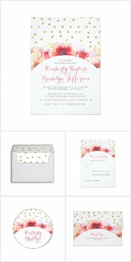 Floral Watercolor Gold Confetti Wedding Collection