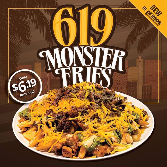 "Introducing the ""619 Monster Fries!"" Crispy Golden Fries topped with Angus Steak, Grilled Chicken, Guacamole, Chipotle Sauce, Primos Sauce & Shredded Cheese. Get it for only $6.19 for the entire month of June! Only at Primos Mexican Food!  Find a location near you! www.primosmex.com  #619 #sandiego #carneasadafries #monsterfries #polloasado #carneasada #chipotle #nachos #chulavista #lamesa #lajolla #mexicanfood #escondido #temecula #murrieta #sanmarcos #solanabeach #delmar #tacos #burritos…"