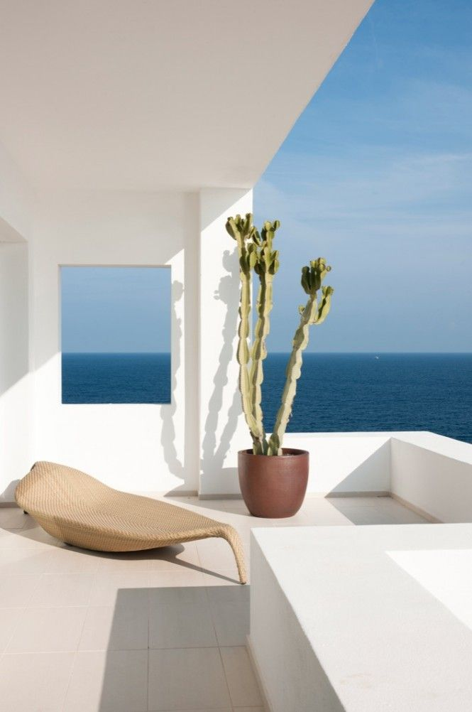 JUMA Architects; An Overawe Apartment Design with Amazing Views: Minimalist White Sun Terrace With Cactus