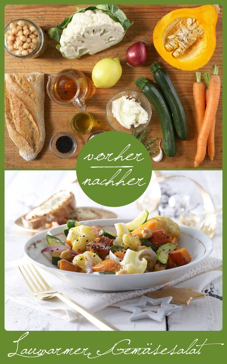http://eatsmarter.de/rezepte/lauwarmer-gemuesesalat Salat aus Gemüse mit leckerem Baguette mit Ziegenkäse.