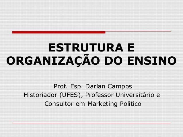 ESTRUTURA E ORGANIZAÇÃO DO ENSINO Prof. Esp. Darlan Campos Historiador (UFES), Professor Universitário e Consultor em Mark...