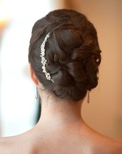 Gorgeous Pinned Curls Updo With Rhinestone Hair Brooch Long Straight Hair Bridal Hairstyles