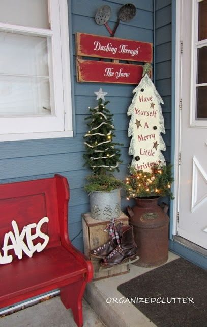 A Christmas Pew On A Front Porch Holidays Pinterest