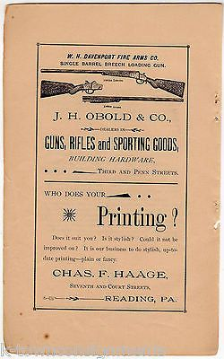 Obold & Co Davenport Rifles Guns Reading PA Antique Graphic Advertising Print