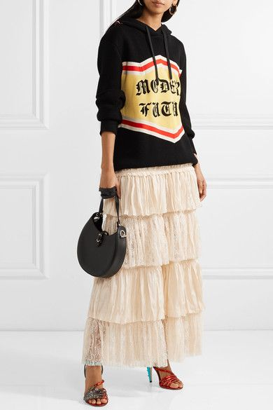 Gucci - Tiered Silk-satin And Lace Maxi Skirt - Cream - IT40
