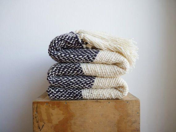Merino Wool Sofa Blanket, striped charcoal white handwoven, Oversized rug