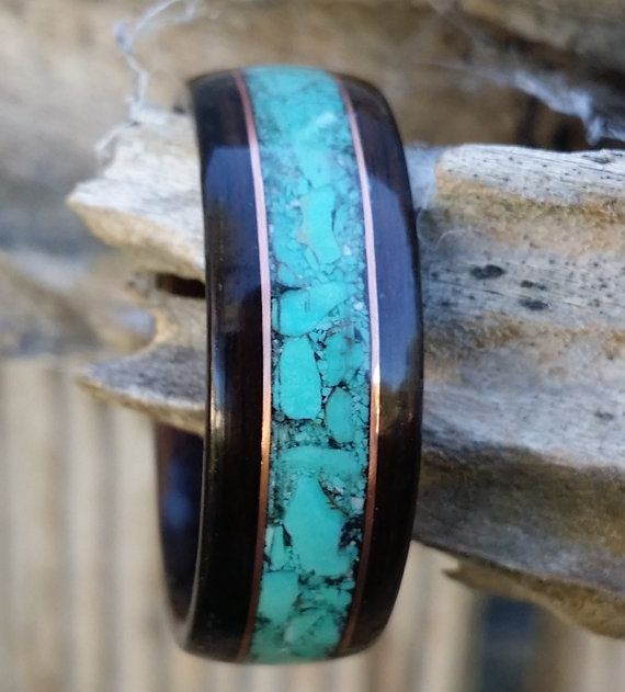 ebony bent wood ring with turquoise and copper inlay