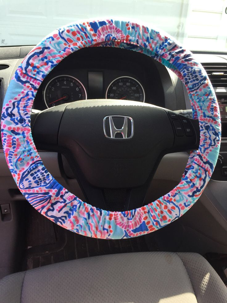 Steering Wheel Cover made with Lilly Pulitzer Multi Shell Me About It Fabric - Summer 2015 by SewPinkandSewGreen on Etsy https://www.etsy.com/listing/234869097/steering-wheel-cover-made-with-lilly