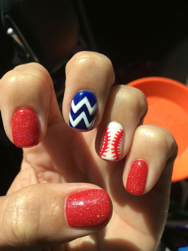 Baseball season! Cubs spring training! OPI big apple red, white under OPI hello kitty, OPI blue